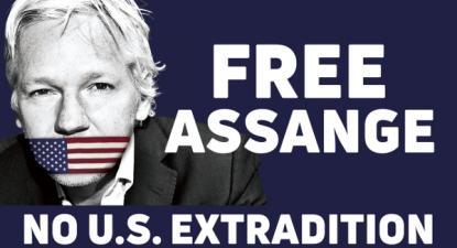 """Cartaz """"Liberdade para Assange Não à extradição para os EUA"""" - imagem WikiLeaks"""