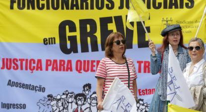 Primeiro de três dias de greve dos funcionários judiciais, 29 de junho de 2018 – Foto José Coelho/Lusa