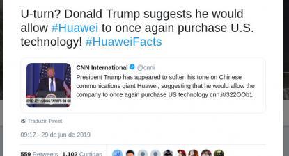 Twit da Huawei: viragem de 180 graus (U-turn)