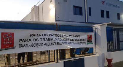 Faixa da CGTP na fábrica Hutchinson, Campo Maior, Portalegre, 14 maio 2021 – Foto CGTP