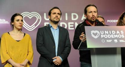 Iglesias afirmou na noite das eleições, que, face à subida da extrema-direita, o entendimento à esquerda era uma necessidade – Pablo Iglesias na foto, juntamente com Irene Montero e Alberto Garzón