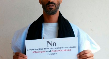 Mohamed Fadel, El Aaiun ocupado, manifesta-se contra as eleições marroquinas no Sahara Ocidental - foto Né Eme