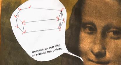 """""""Desenha a reforma, juntando os pontos"""", contra-reforma caricaturada na mobilização no Louvre - foto A l'encontre"""