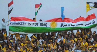 """Faixa com a frase """"Curdistão não é Iraque"""" - Foto de kurdistan24.net"""
