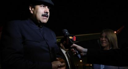 Nicolás Maduro à chegada da sua visita à China