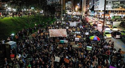 Manifestação no Rio de Janeiro, na noite de sexta-feira. Foto do PSOL Niterói