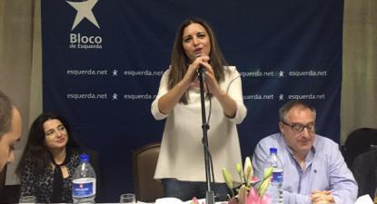 Marisa Matias intervindo no jantar bloquista no Porto