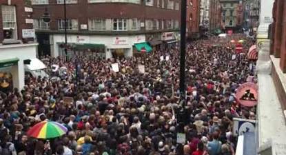 Soho, London - vigil in solidarity with Orlando