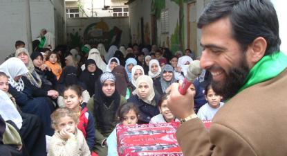 Mushir al-Mashri, dirigente de topo do Hamas, em acção de campanha eleitoral numa escola do campo de refugiados de Jabalya, na Faixa de Gaza. Janeiro de 2006. Foto: jmr