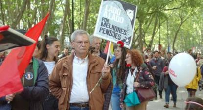 Norberto Corga numa manifestação em Lisboa