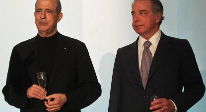 Joe Berardo com Ricardo Salgado na apresentação da 9ª edição do BES Photo, em 2013. Pormenor de foto de Mário Cruz, Lusa arquivo.