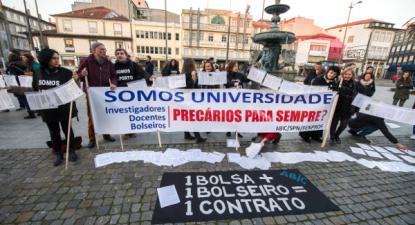 Concentraçao de precários da Universidade do Porto, janeiro de 2019. Foto Rui Farinha/Lusa.