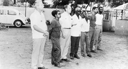 """(1969), """"Lilica Boal, Aristides Pereira, Domingos Brito e Hugo dos Reis Borges com uma delegação estrangeira"""", Fundação Mário Soares / DAC - Documentos Amílcar Cabral, Disponível HTTP: http://hdl.handle.net/11002/fms_dc_44229 (2019-11-23)"""
