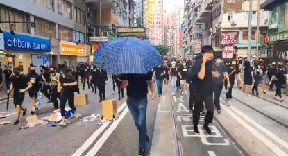 Protesto em Hong Kong.