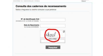 Site do recenseamento eleitoral exige um código que é inacessível aos leitores de ecrã.