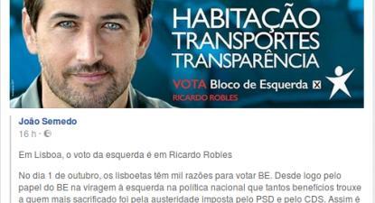 """""""Não poderia ter melhor forma de entrar no último dia desta campanha do que receber esta mensagem de apoio do João Semedo"""", escreveu Ricardo Robles no facebook."""