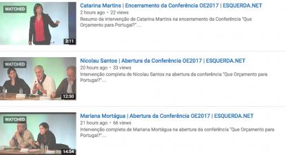 """Imagens dos vídeos da conferência """"Que Orçamento para Portugal?"""""""