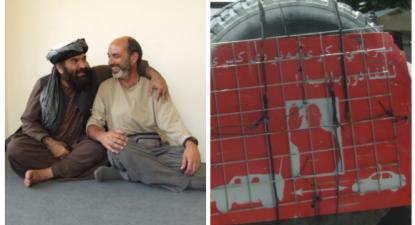 Montagem de duas fotos. Uma de José Manuel Rosendo com um candidato presidencial afegão, outra de um aviso colocado nos carros militares dos EUA a proibir aproximação de carros afegãos.
