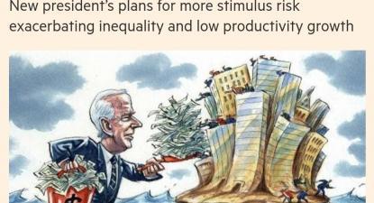 """Financial Times publicou artigo de Ruchir Sharma, com o título """"Caro Joe Biden, os défices ainda importam"""" - screenshot da capa da publicação"""