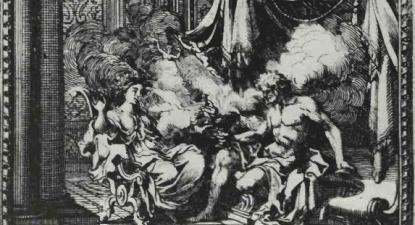 Pandora, Epimeteu e caixa acabada de abrir, gravura de Sébastien Le Clerc (1676), fonte: wikipedia.org