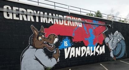 Mural contra a manipulação de fronteiras eleitorais. Foto de chucka_nc/Flickr.
