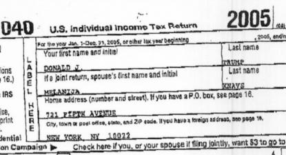 Recorte da primeira página da declaração de IRS de Donald Trump relativo a 2005