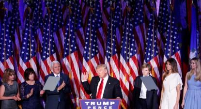 Declaração de Trump na noite eleitoral, 8 de novembro de 2016 – Foto de Shawn Thew/Epa/Lusa