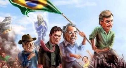 Uma das imagens usada na convocatória: da esquerda para a direita, Olavo de Carvalho (de chapeu de cowboy), Sérgio Moro, Paulo Guedes, o ministro da economia, e Bolsonaro.
