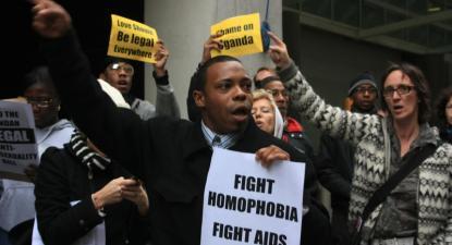 Protesto contra a homofobia no Uganda.Nova Iorque, 2009. Foto de Kaytee Riek/Flickr.