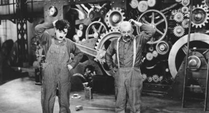 Imagem de Tempos Modernos de Charles Chaplin.