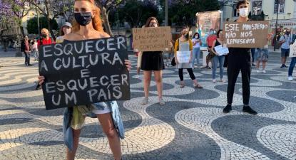 Manifestação de trabalhadores do setor da cultura em Lisboa.