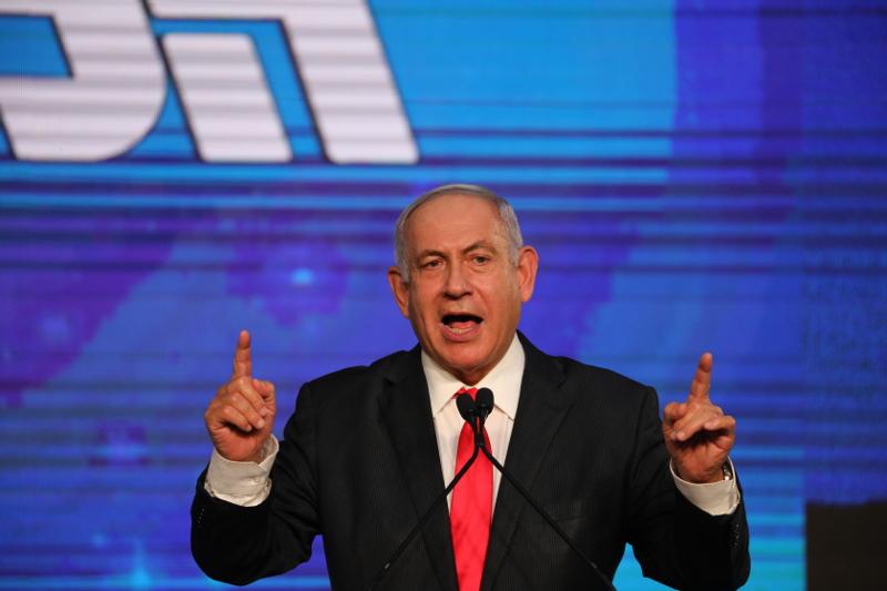 Benjamin Netanyahu nas eleições de março de 2021, Jerusalém, 24 março de 2021 – Foto de Abir Sultan/Epa/Lusa