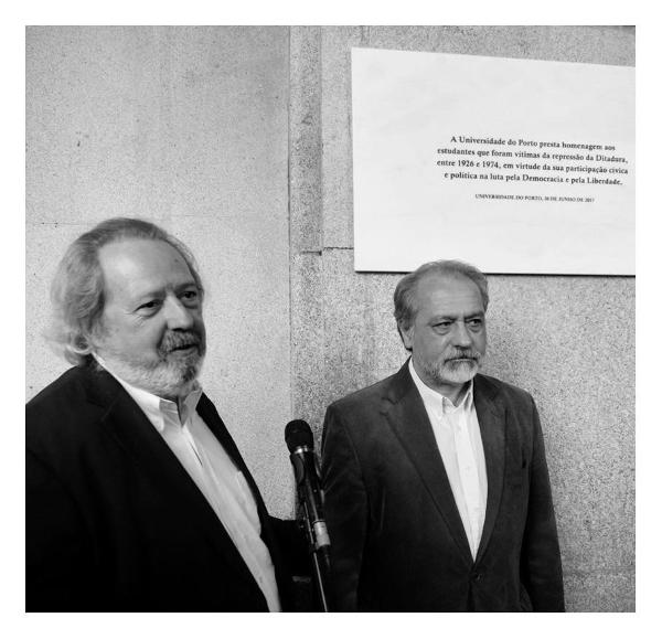 Inauguração de uma placa alusiva às lutas estudantis no edifício da Reitoria da Universidade do Porto, 30 de junho de 2017
